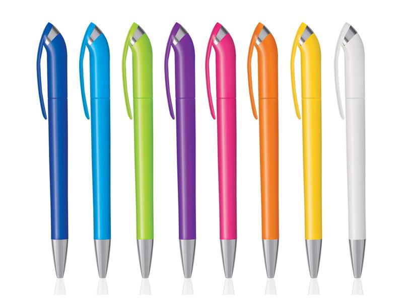 Plastična hemijska olovka sa okretnim mehanizmom i prstenom (301694)