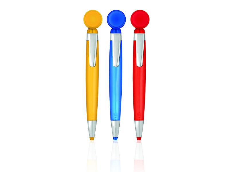 Plastična hemijska olovka sa kružnim okretnim mehanizmom (301701)