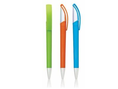 Plastična hemijska olovka sa srebrnim delovima i okretnim mehanizmom (301728)