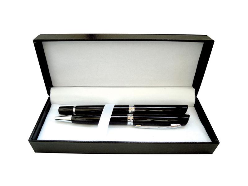 Metalna hemijska i roler olovka u kutiji od eko kože (313985)