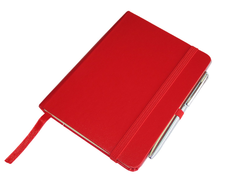 Džepni A6 notes sa olovkom, tvrde korice, crveni (324314-1)